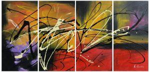 Schilderij 4 luik modern abstract 120x60 Artello
