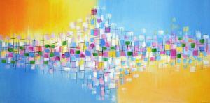 Schilderij 120 x 60 artistiek blauw geel Artello