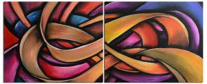 Schilderij 2 luik retro abstract 120x50 Artello