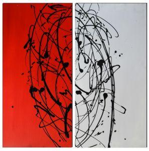Schilderij 2 luik rood wit 80x80 Artello