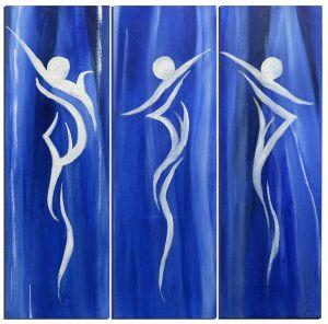 Schilderij 3 luik 90x90 abstract blauw Artello
