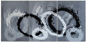 Schilderij 3 luik cirkels 120x60 Artello