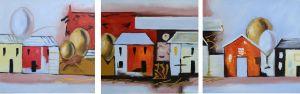 Schilderij 3 luik huisjes 150x50 Artello