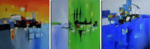 Schilderij abstract 3-luik 180 x 60 Artello