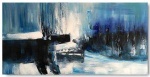 Schilderij abstract blauw grijs 100 x 50 Artello