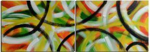 Schilderij abstract cirkels 2 luik 140 x 50 Artello