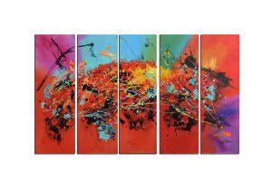 Schilderij abstract modern 5-luik 150x90 Artello