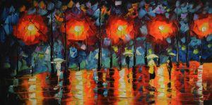 Schilderij abstract park 100 x 50 Artello