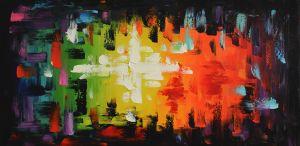 Schilderij abstract strepen 100x50 Artello
