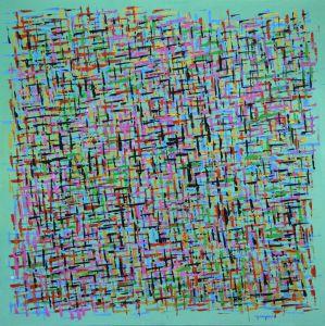 Schilderij abstract strepen 80x80 Artello