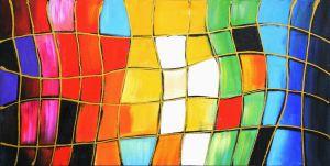 Schilderij abstract vakken gekleurd 100x50 Artello