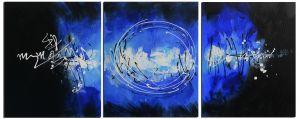 Schilderij abstract zwart blauw 3 luik 150x60 Artello
