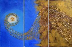 Schilderij goud blauw abstract 3 luik 120x60 Artello