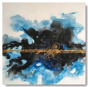 Schilderij inktdruppel blauw 75 x 75 Artello