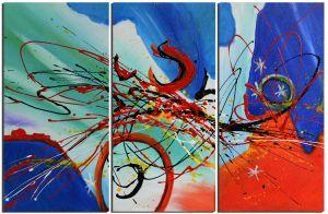 Schilderij modern abstract 3 luik 90x60 Artello