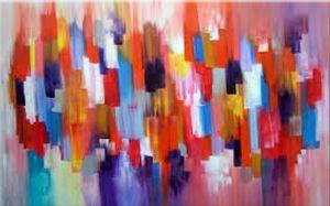 Schilderij modern abstract strepen 90x60 Artello